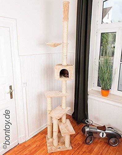 Bontoy Kratzbaum Pascha   Deckenhoch   mit 3 Ebenen   Farbe Creme   240cm - 260cm   Sisalstämme mit 9cm Durchmesser   für Deckenhöhe von 240-260cm   weitere Deckenhöhe auf Anfrage