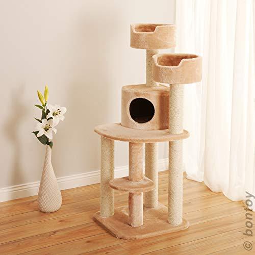 bontoy Kratzbaum Jerry I 49,5 x 49,5 x 126 cm I mit 9 cm Sisalstämmen I auch für größere Katzen geeignet