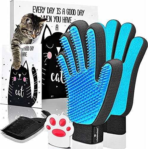 LÖWENKÖNIG® Innovativer 3in1 Premium Haustier Bürstenhandschuh [verbesserte Version 2021] Fellpflege-Handschuh I Massage-Bürste, Katzenhaare I Katzen-Zubehör