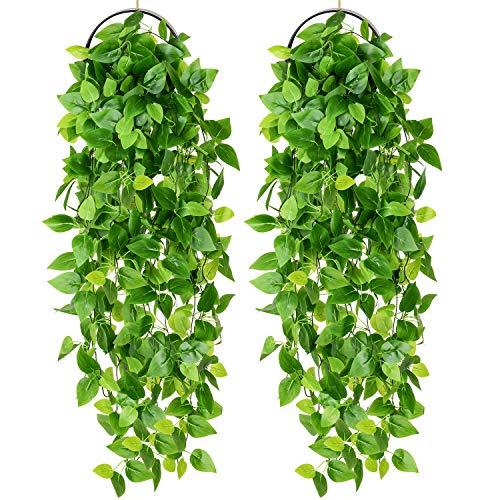 YQing 2 Stück Künstliche Hängepflanze, Knstpflanze Hängend Efeu Pflanze Weinreben Farne für Wand, Innenbereich, Hängekörbe, Hochzeitsgirlande