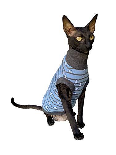 Kotomoda Sphynx Katzen Kleidung Rollkragen Kleine Katzen blau (S)
