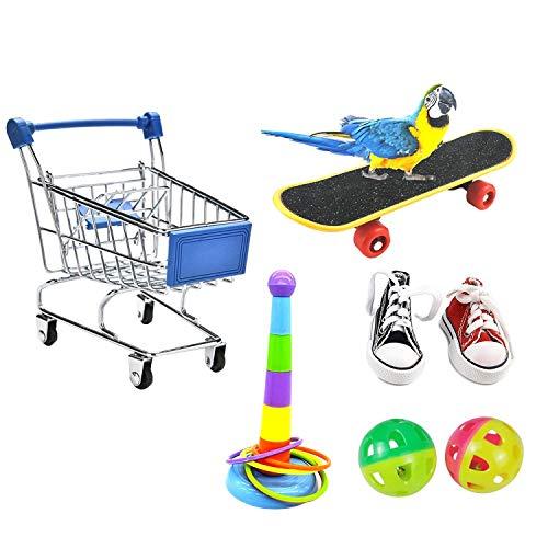 Papageienspielzeug 7PCS, Mini-Einkaufswagen - Trainingsringe - Skateboard, Schuhe und Ball - Papageien stehendes Trainingsspielzeug Papageien-Intelligenzspielzeug für Wellensittich(Zufällige Farbe)